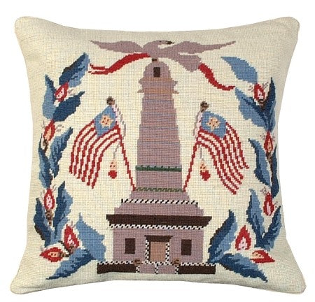 "Monument/ Flags 18"" x 18"" Needlepoint PIllow"