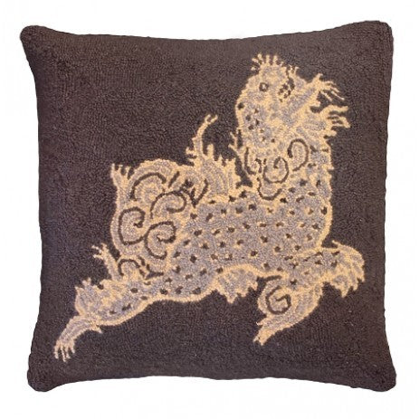"Dragon Onyx 20"" x 20"" Hooked Pillow"