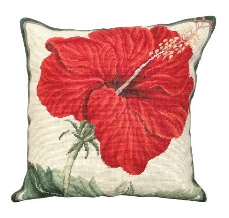 China Rose 18 x 18 needlepoint pillow