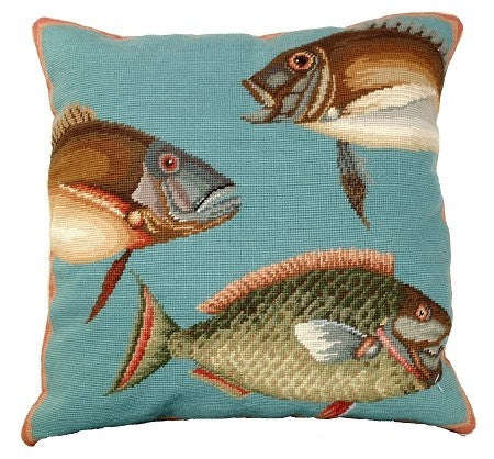 AA- Saltwater Fish 2 20 x 20 needlepoint pillow, Beige Velvet Back