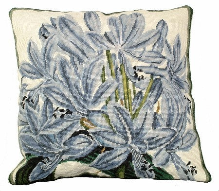 Agapanthus 18 x 18 needlepoint pillow, Beige Velvet Back