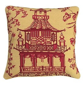 "Red Pagoda 18"" x 18"" Needlepoint Pillow"