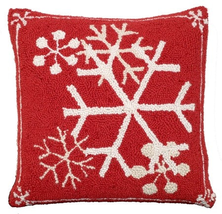AA- Snow Flakes  16 x 16 Hooked Wool Pillow