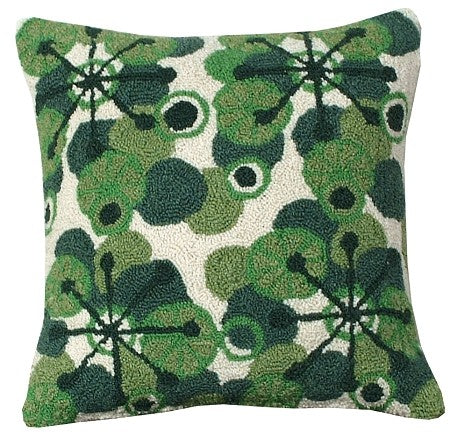 AA- Retro Green  18 x 18 Hooked Wool Pillow