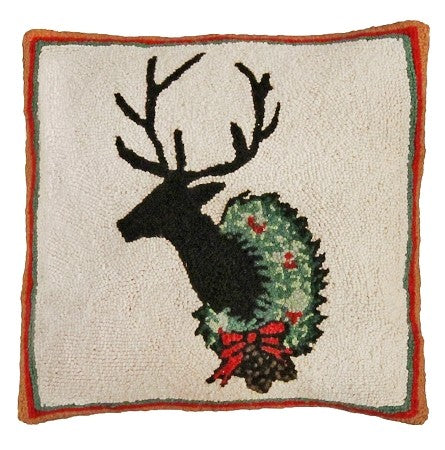 "Deer with Wreath 18"" x 18"" Hand Hooked Pillow"