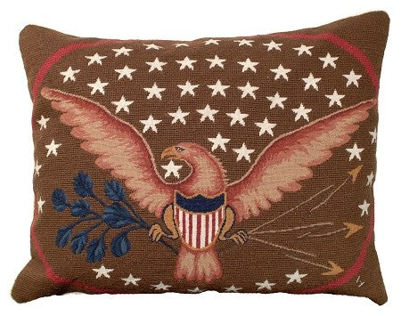 "Eagle and Shield 16"" x 20"" Needlepoint Pillow"