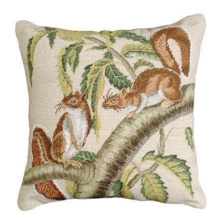 Carolina Grey Squirrel 18 x 18 Petit Point Pillow