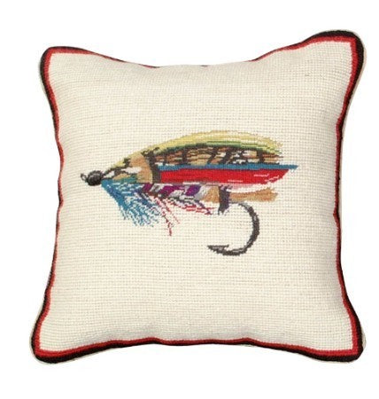 Fly 12 x 12 Mixed-Stitch needlepoint pillow