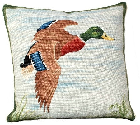 "Mallard in Flight 18"" x 18"" Needlepoint Pillow"