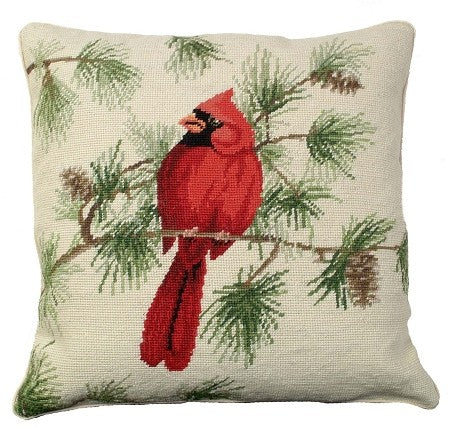 "Cardinal 18"" x 18"" Needlepoint Pillow"