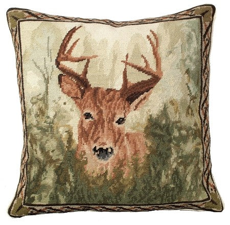 "AA- Stag in Forest 18"" x 18"" Needlepoint Pillow"