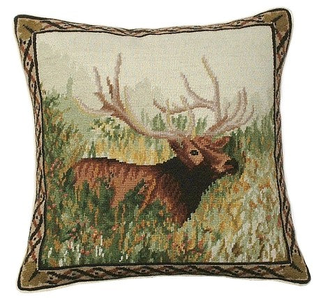 "Elk in the Woods 18""x18"" needlepoint pillow"