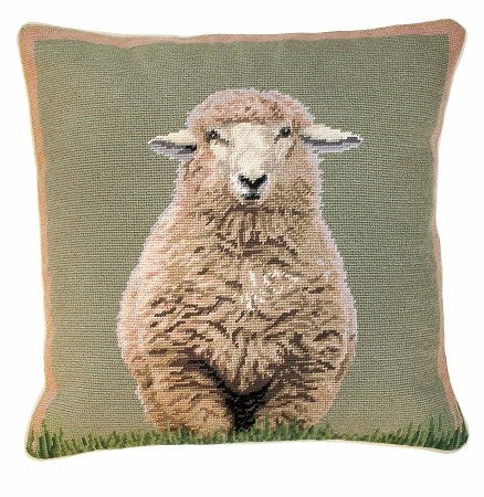 "AA- Standing Sheep 18"" x 18"" Needlepoint PIllow"