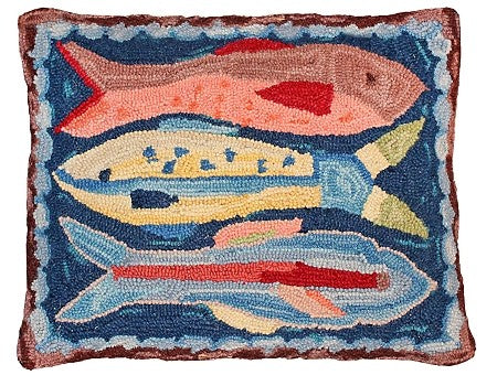 AA- Swimming Fish Hooked Wool Pillow 16' x 20""
