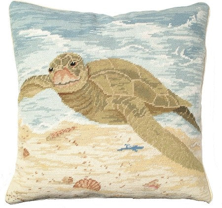 "AA- Sea Turtle 18"" x 18"" Needlepoint Pillow"