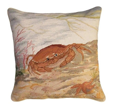 "Crab and Sea Star 18""x18"" Needlepoint Pillow"