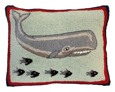 "Whale and Fish, 16"" x 20"" Hooked PIllow"