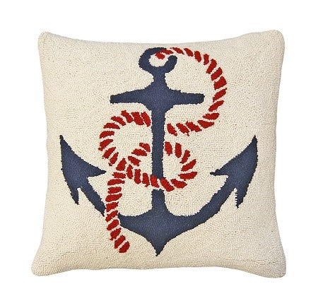 "Anchor's Away 20"" x 20"" Hooked Wool Pillow"