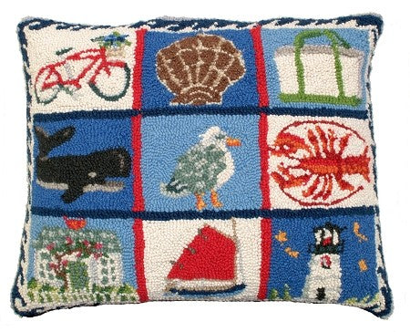"Coastal Quilt 16""x20"" Hooked Pillow"