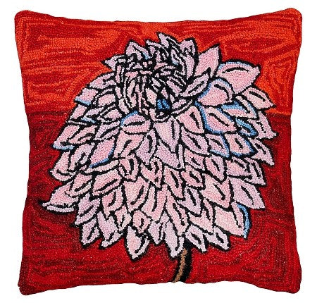 "Bloomers 6 20"" x 20"" Hooked Wool Pillow"