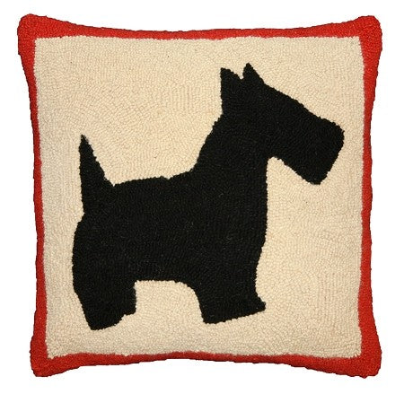 "AA- Scottie 18"" x 18"" Hand Hooked Pillow"