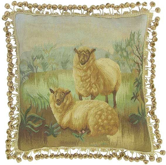 "Two Lambs on Green - 20 x 20 "" Aubusson pillow"