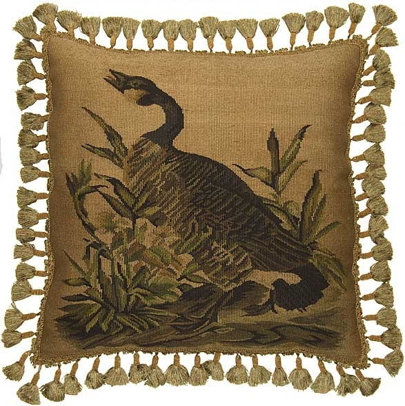 "Goose Cries Out - 22 x 22 "" Aubusson pillow"