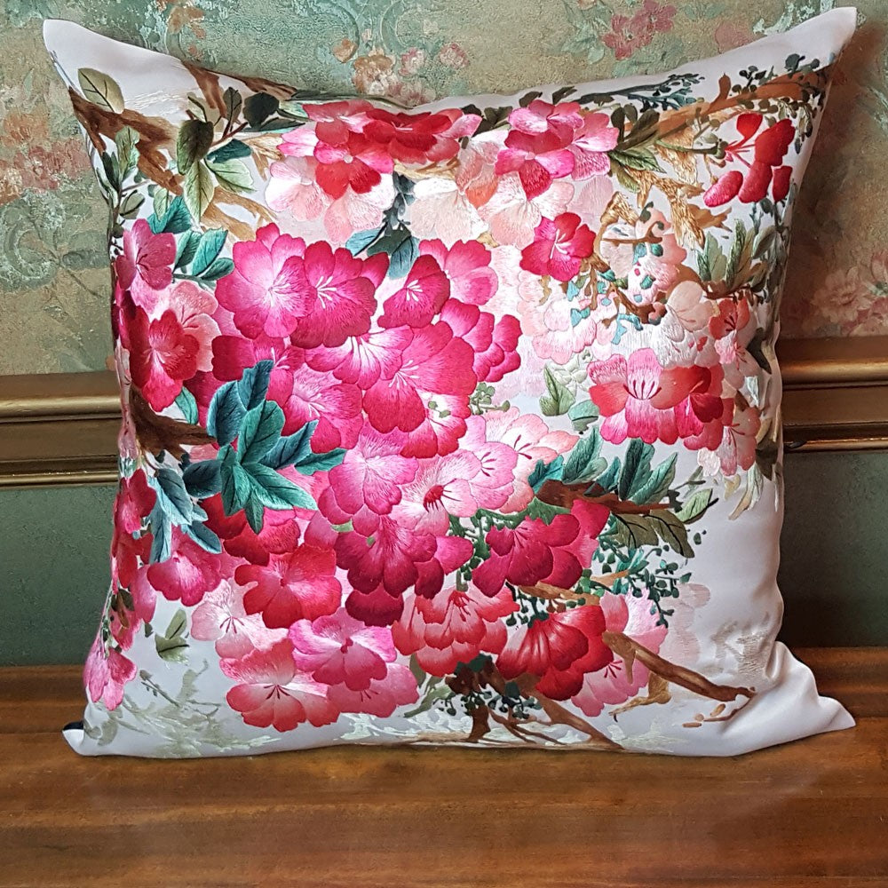 "Floral in Red Pure Silk Embroidered - 20"" x 20"""