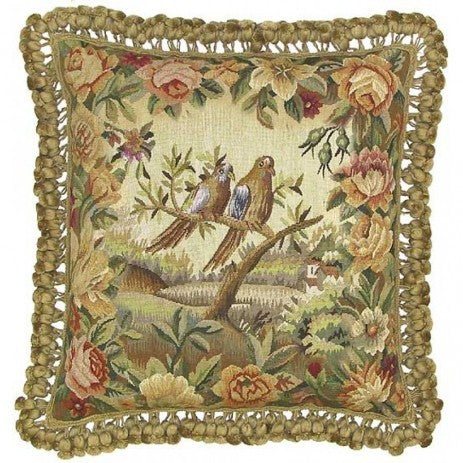 Two Birds Facing Right - 20 x 20 in. Aubusson pillow
