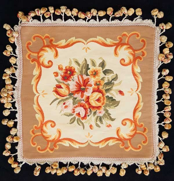 "Square Flourish Taupe Embroidered - 18"" x 18"""