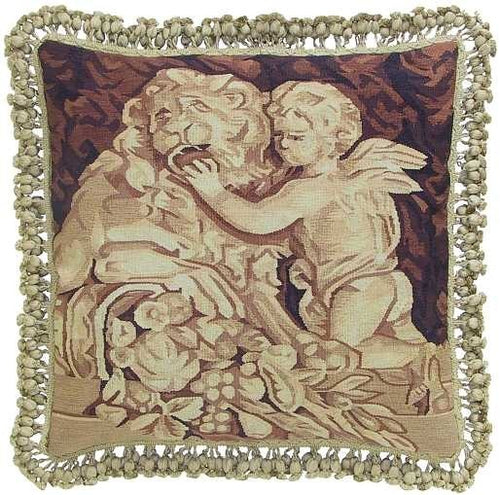 Cupid and Lion - 20 x 20 in. Aubusson pillow