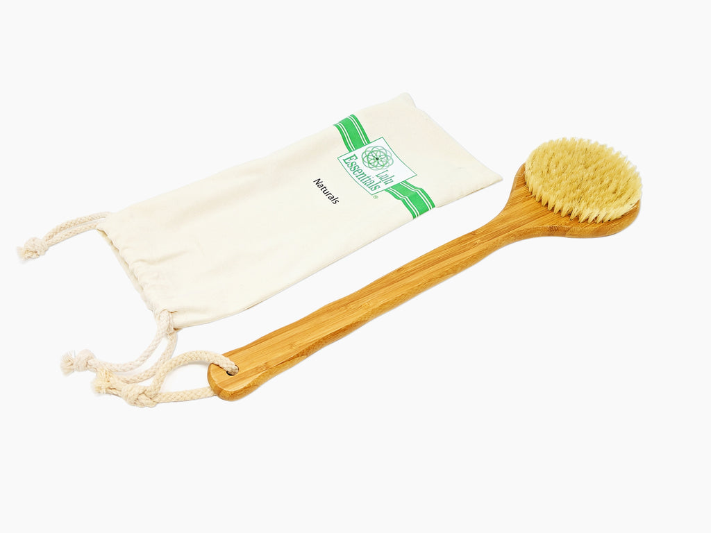 Lulu Essentials Natural Bamboo Back Brush - Best Natural Bristle Body Scrub Bath and Shower Brush