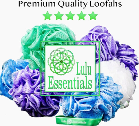Lulu Essentials Premium Quality Loofahs ( 4 pack) Bath and Shower Sponge Mesh Pouf (Blue, Green, Purple and White)