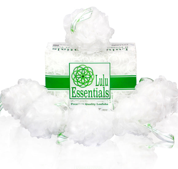 Lulu Essentials Premium Quality Loofah (6 Pack) Snow White Puffs