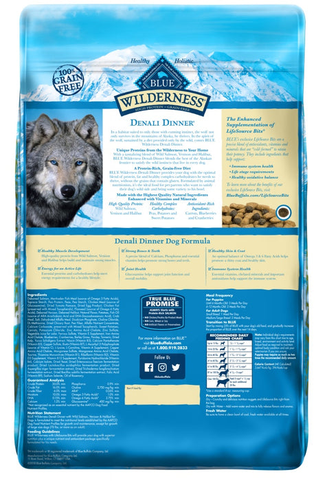 Blue Buffalo Wilderness Grain Free Natural Denali Dinner with Salmon, Venison & Halibut Dry Dog Food