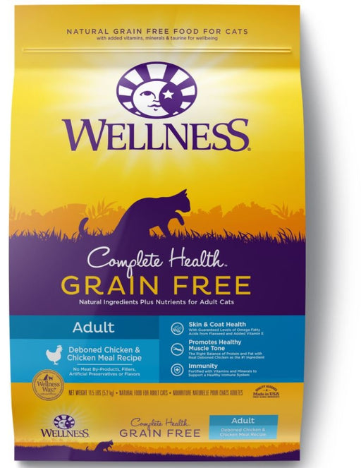 Wellness Complete Health Natural Adult Grain Free Deboned Chicken and Chicken Meal Dry Cat Food