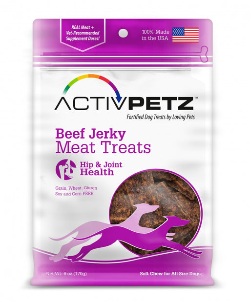 Loving Pets AcitvPetz Grain Free Beef Jerky Hip and Joint Health Dog Treats