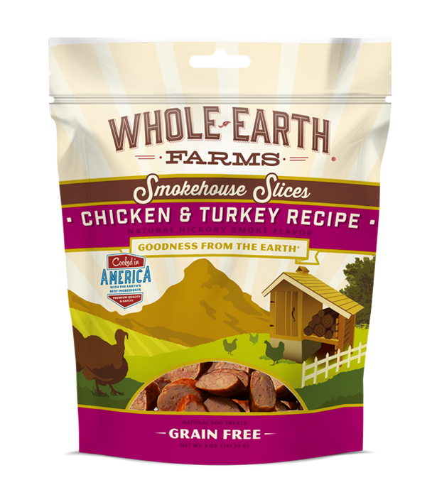 Whole Earth Farms Grain Free Chicken & Turkey Smokehouse Slices Dog Treats
