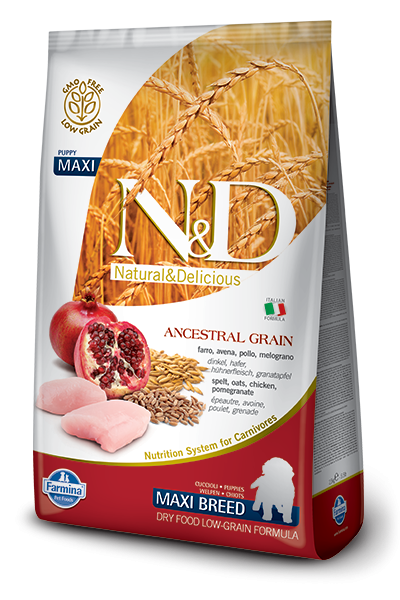 Farmina N&D Natural and Delicious Low Grain Maxi Puppy Chicken & Pomegranate Dry Dog Food
