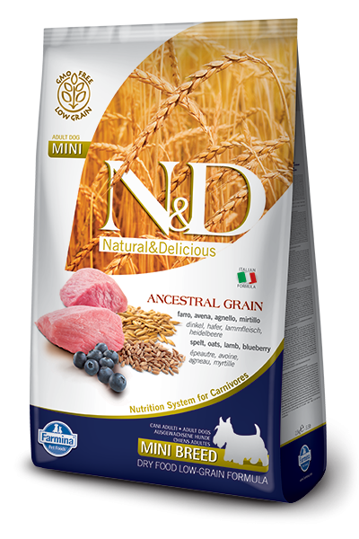Farmina N&D Natural and Delicious Low Grain Mini Adult Lamb & Blueberry Dry Dog Food
