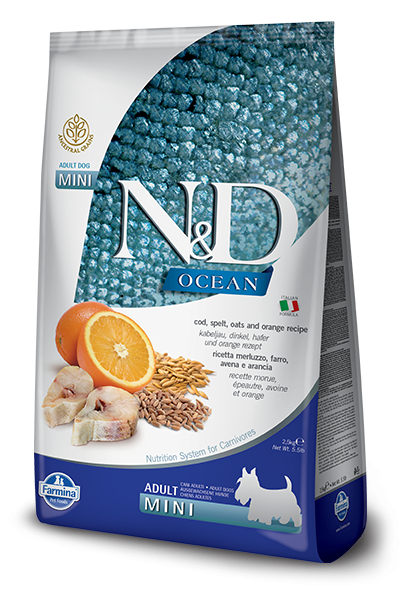 Farmina Ocean N&D Natural and Delicious Ancestral Grain Mini Adult Cod, Spelt, Oats & Orange Dry Dog Food