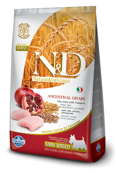 Farmina N&D Natural and Delicious Low Grain Mini Adult Chicken & Pomegranate Dry Dog Food