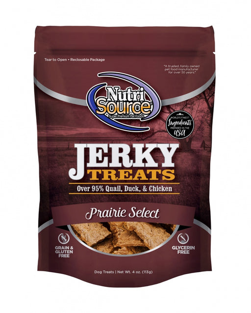 Nutrisource Prairie Select Grain Free 95% Quail, Duck, & Chicken Jerky Dog Treats
