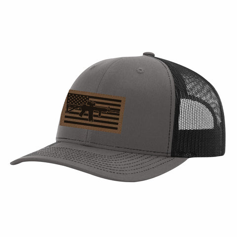 M4 Leather Patch Truckers Hat