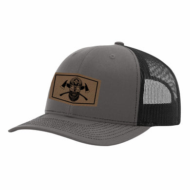 Fire Fighter Leather Patch Snapback Hat
