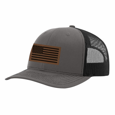 CNOA Leather Patch Flag Dark Heather and Black Snapback Cap