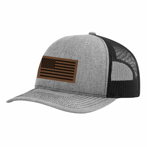 CNOA Leather Patch Flag Heather Grey and Black Snapback Cap