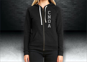 CNOA Applique Next Level Ladies' PCH Raglan Zip Hoody - Heather Black