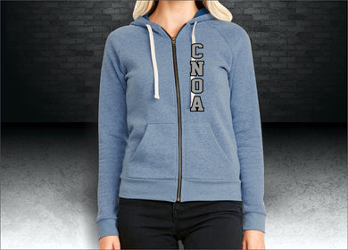 CNOA Applique Next Level Ladies' PCH Raglan Zip Hoody - Heather Bay Blue