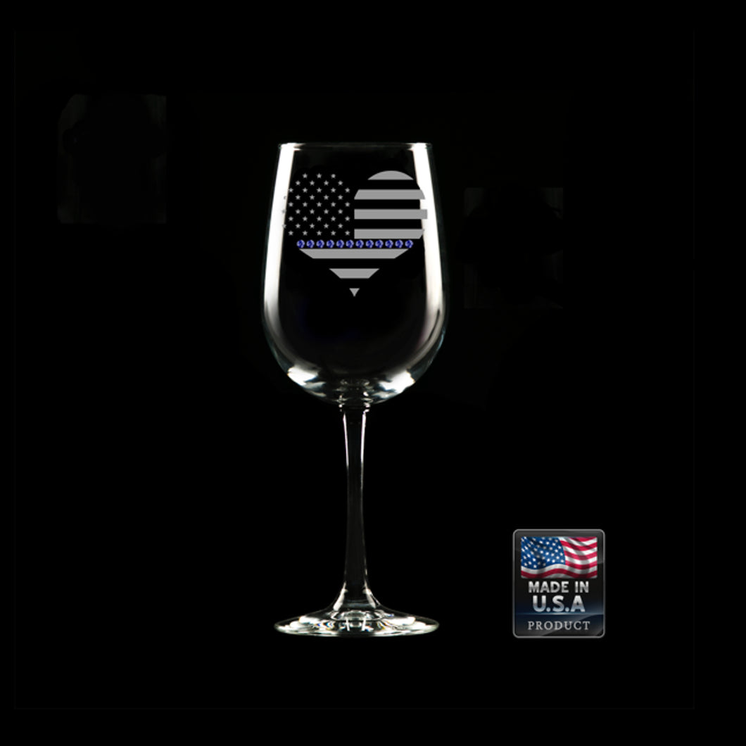 Heart Blue Line Wine Glass